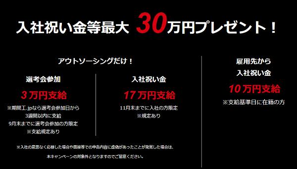 【マツダ期間工】派遣会社支給の祝い金30万、2019年12月も継続