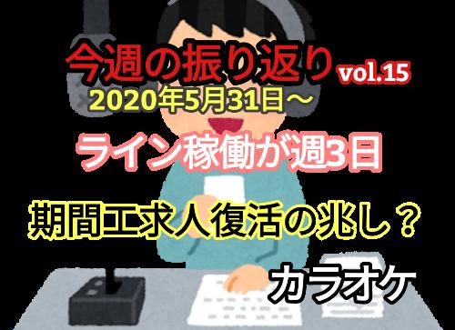 【2020年6月1週】期間工求人に光明?/ライン稼働週3日【振り返りvol.15】