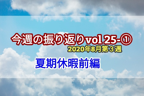 2020年8月3週【夏期休暇前編】振り返りvol.25-1