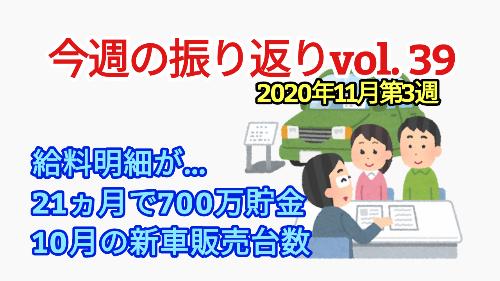 2020年11月3週【21ヵ月で700万貯金/新車販売台数】振り返りvol.39