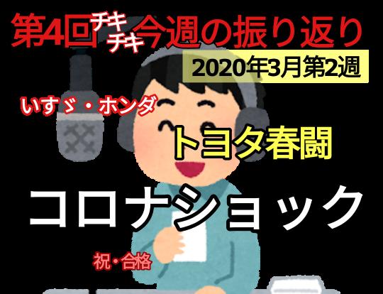 今週の振り返りvol.4【トヨタ春闘・コロナショック】2020年3月2週