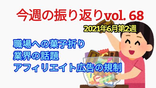 2021年6月2週【 職場への菓子折りや業界話/アフィ規制】振り返りvol68